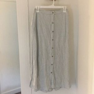Gray and white stripe midi skirt with buttons